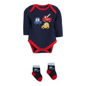 Erkek Bebek Badi-Çorap Set Lacivert (56-62 cm)