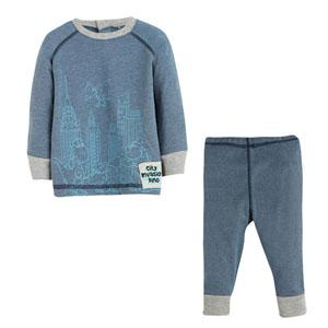 Erkek Bebek Pijama Takımı Mavi Melanj (0-3 yaş)