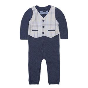 Erkek Bebek Uzun Kol Tulum Mavi Melanj (0-18 ay)