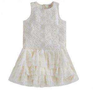Kız Bebek Kolsuz Elbise Ekru (3-7 yaş)