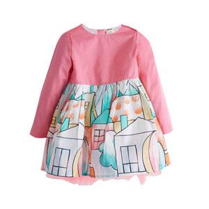 Kız Çocuk Uzun Kol Elbise Pembe (3-7 yaş)