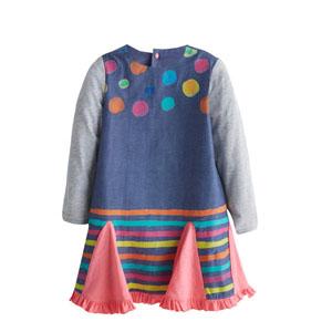 Kız Çocuk Uzun Kol Elbise Mavi (3-7 yaş)