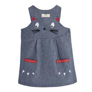 Kız Çocuk Askılı Kot Jile Elbise Lacivert (1-5 yaş)