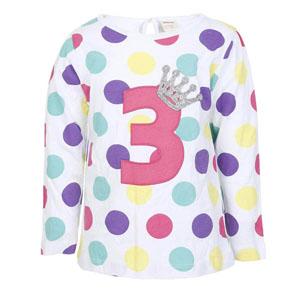First Birthday Girls Kız Çocuk 3 yaş Uzun Kol Tişört Beyaz (1-3 yaş)
