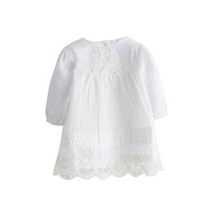 Kız Bebek Uzun Kol Elbise Külot Set Ekru (0-3 yaş)
