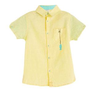 Erkek Çocuk Kısa Kol Cepli Gömlek Sarı (1-5 yaş)