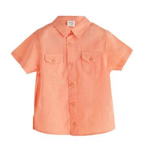 Erkek Çocuk Kısa Kol Gömlek Neon Şeftali (3-12 yaş)