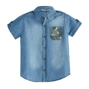 Erkek Çocuk Kısa Kol Gömlek İndigo (2-12 yaş)
