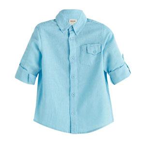 Erkek Çocuk Cep Detaylı Uzun Kol Gömlek Mavi (3-12 yaş)