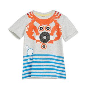 Erkek Çocuk Kısa Kol Tişört Açık Gri Melanj (1-5 yaş)