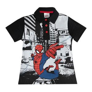 Ultimate Spider-Man Erkek Çocuk Polo Pike Kısa Kol Tişört Siyah (3-7 y
