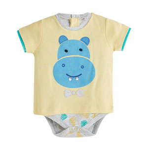 Erkek Bebek Kısa Kol Badi Sarı (0-2 yaş)