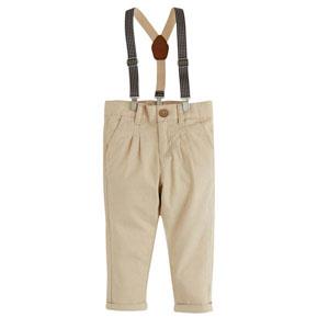 Erkek Bebek Askılı Kemerli Pantolon Toprak (0-2 yaş)