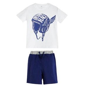 Erkek Bebek Pijama Takımı Beyaz (0-3 yaş)