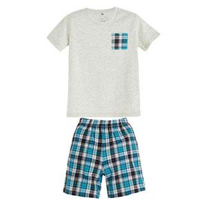Erkek Bebek Pijama Takımı Açık Gri Melanj (0-3 yaş)