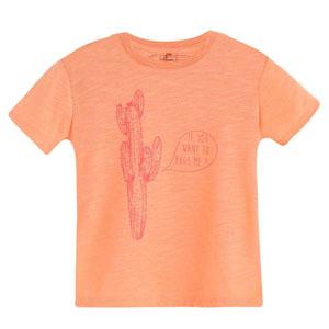 Erkek Bebek Kısa Kol Tişört Neon Şeftali (0-2 yaş)