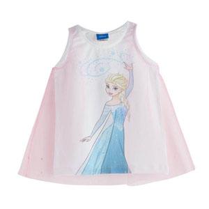Disney Frozen Tüllü Kolsuz Tişört Beyaz (3-7 yaş)