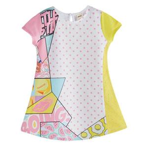 Kız Çocuk Kısa Kol Elbise Baskılı (2-12 yaş)