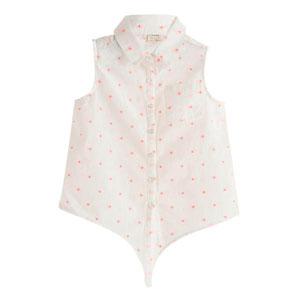 Kız Çocuk Kolsuz Gömlek Beyaz (3-10 yaş)