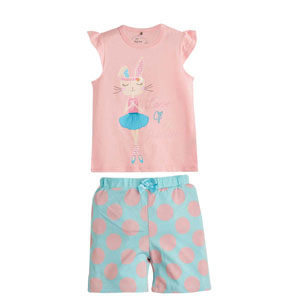 Kız Çocuk Pijama Takımı Pembe (4-12 yaş)
