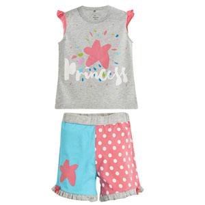 Kız Çocuk Pijama Takımı Gri Melanj (4-12 yaş)