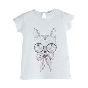Pop Girls Gözlüklü Tilki Kısa Kol Tişört Beyaz (3-12 yaş)