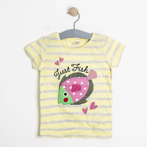 Pop Girls Balık Kısa Kol Tişört Limon Sarısı (3-12 yaş)