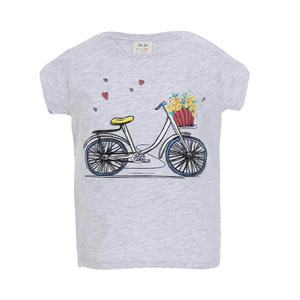 Pop Girls Bisiklet Kısa Kol Tişört Açık Gri Melanj (3-12 yaş)
