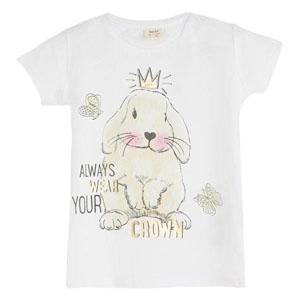 Kız Çocuk Tavşan Kısa Kol Tişört Beyaz (3-12 yaş)