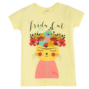 Kız Çocuk Kedi Kısa Kol Tişört Limon Sarısı (3-12 yaş)