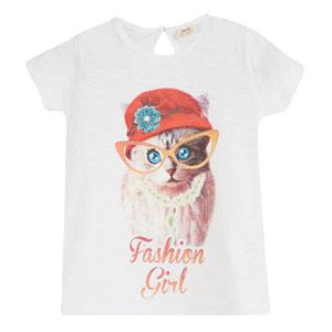 Pop Girls Gözlüklü Kedi Kısa Kol Tişört Beyaz (3-12 yaş)