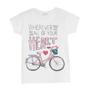 Pop Girls Bisikletli Kısa Kol Tişört Beyaz (3-12 yaş)