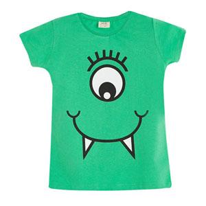 Pop Girls Tek Göz Canavar Kısa Kol Tişört Çam (3-12 yaş)