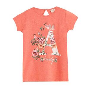 Pop Girls A Harfli Kısa Kol Tişört Porselen Rose (3-12 yaş)