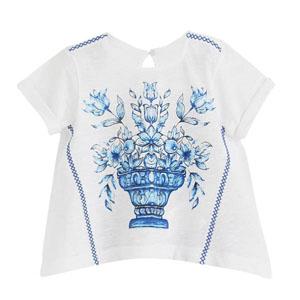 Oriental Blue Kısa Kol Piliseli Tişört Beyaz (3-12 yaş)