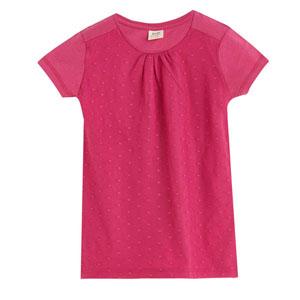 Kız Çocuk Önü Detaylı Kısa Kol Tişört Begonvil (3-12 yaş)