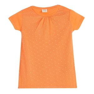 Kız Çocuk Önü Detaylı Kısa Kol Tişört Apricot (3-12 yaş)