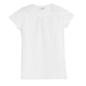 Kız Çocuk Önü Detaylı Kısa Kol Tişört Beyaz (3-12 yaş)