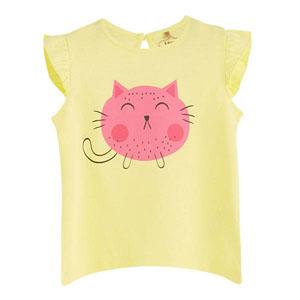 Pop Girls Kedi Kısa Kol Kız Bebek Tişört Limon Sarısı (0-2 yaş)