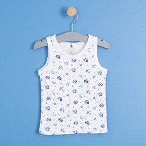 Pop Girls Çiçekli Fırfırlı Kolsuz Tişört Beyaz (0-2 yaş)