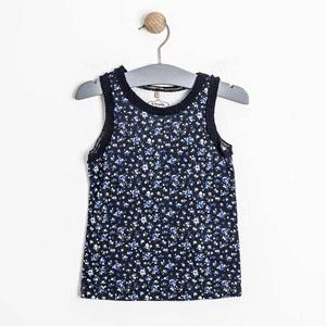Pop Girls Çiçekli Fırfırlı Kolsuz Tişört Lacivert (0-2 yaş)