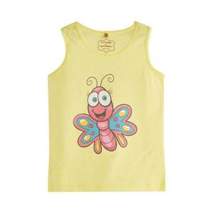 Pop Girls Sevimli Kelebek Kısa Kol Tişört Limon Sarısı (0-2 yaş)