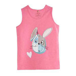 Pop Girls Kurdeleli Tavşan Kısa Kol Tişört Tatlı Pembe (0-2 yaş)