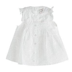 Pop Girls Düğmeli Kısa Kol Bluz Beyaz (0-2 yaş)