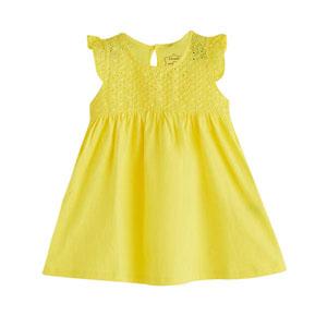 Kız Bebek Kısa Kol Elbise Koyu Sarı (0-2 yaş)
