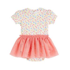 Kız Bebek Kısa Kol Badili Elbise Koyu Sarı (0-2 yaş)