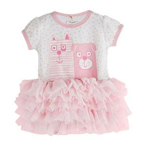 Kız Bebek Kısa Kol Tütülü Elbise Ekru (0-2 yaş)