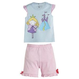 Peri Kızı Kısa Kol Şort Pijama Takımı Mavi (0-3 yaş)