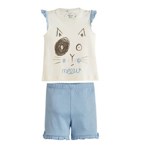 Kedi Baskılı Kısa Kol Şort Pijama Takımı Ekru (0-3 yaş)