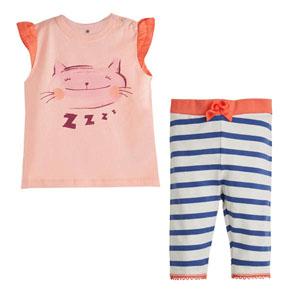 Kedi Baskılı Kısa Kol Pijama Takımı Şeftali (0-3 yaş)